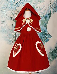 Roupa Doce Lolita Cosplay Vestidos Lolita Vermelho Cor Única Sem Mangas Comprimento Médio Vestido / Xale Para FemininoPele Falsa /