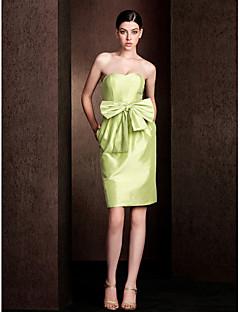Robe de Demoiselle d'Honneur - Vert sauge Fourreau Sans bretelles Longueur genou Taffetas