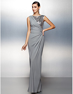 Formal Evening Dress Sheath/Column Jewel Floor-length Jersey