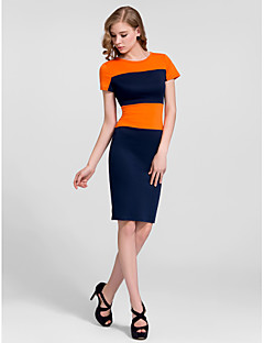 Cocktail Party Dress - Multi-color Plus Sizes Sheath/Column High Neck Knee-length Cotton