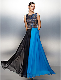 TS Couture Prom Formal Evening Dress - Color Block Sheath / Column Jewel Floor-length Chiffon with Lace Sash / Ribbon