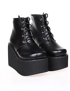 černá PU kůže 10cm platforma punková Lolita boty