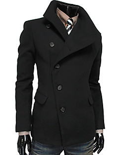 Kailuo Men's Fashion Casual Heavy Lapel Neck Solid Color Coat