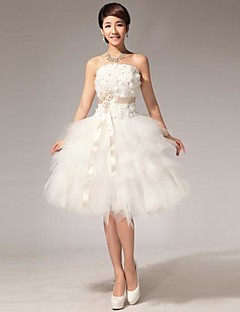 Ball Gown Plus Sizes Wedding Dress - White/White & Champagne (color may vary by monitor) Knee-length/N/A Halter Tulle
