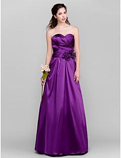Lanting Bride® Gulvlang Taft Brudepigekjole A-linje Sweetheart Plusstørrelse / Petite med Blomst(er) / Kryds & Tværs