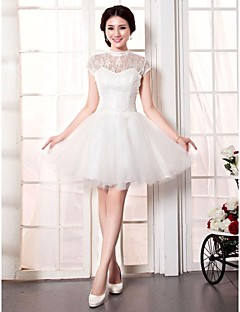 A-line Wedding Dress Short / Mini High Neck Lace / Tulle with
