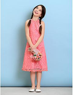 Vestido de Dama de Honor Junior - Sandía Corte Recto Escote Joya Hasta la Tibia Encaje