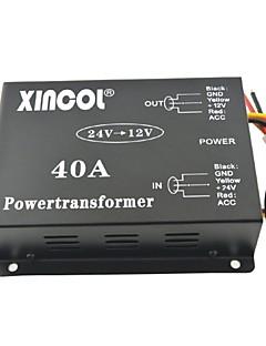 xincol® køretøj bil dc 24v til 12v 40a strømforsyning transformer konverter med ventilator regulering-sort