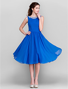 Lanting Bride® Knee-length Chiffon Bridesmaid Dress A-line / Princess Jewel Plus Size / Petite with Crystal Detailing