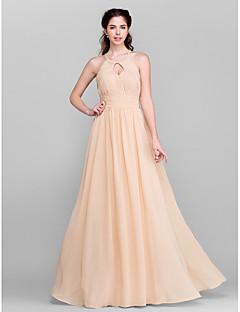 신부 들러리 드레스 - 샴페인 A라인 바닥 길이 보석 쉬폰