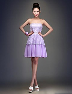 Knee-length Chiffon Bridesmaid Dress Ball Gown Strapless