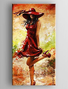 chica impresión mano pintura sombrero cableado pintura al óleo de la lona se extendía enmarcado pintado