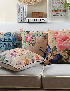 uppsättning av fyra blommor och ord bomull / linne tryckt dekorativt kuddöverdrag