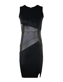 שמלת טלאי bodycon pu צווארון העגול של נשים