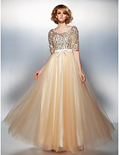 TS Couture® Formal Evening Dress Plus Size / Petite A-line Scoop Floor-length Tulle / Sequined with Beading / Bow(s)