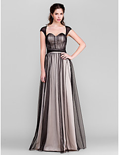 Floor-length Tulle Bridesmaid Dress - Black Sheath/Column Sweetheart