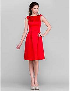 Lanting Bride® Ke kolenům Satén Šaty pro družičky - A-Linie Bateau Větší velikosti / Malé s Mašle