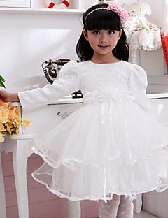 Flower Girl Dress - Baile Comprimento Médio Manga Comprida Algodão