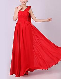 Longo Chiffon Elegante Vestido de Madrinha - Linha A Alças com Cruzado
