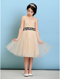 Knee-length Tulle Junior Bridesmaid Dress - Champagne A-line/Princess Spaghetti Straps