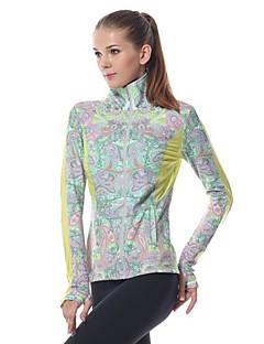 Yokaland Mulheres Ioga tops / Camiseta com Fecho Manga Comprida Respirável / Secagem Rápida / wicking Verde Ioga / Pilates / FitnessS / M