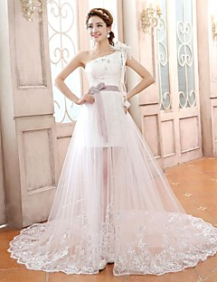 A-line/Princess Plus Sizes Wedding Dress - Ivory Court Train One Shoulder Lace/Tulle