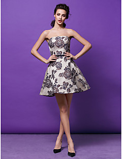 Cocktail Party Dress - Print Plus Sizes / Petite A-line / Princess Strapless Short/Mini Satin
