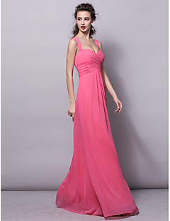 Lanting Bride® Floor-length Chiffon Bridesmaid Dress Sheath / Column Straps Plus Size / Petite with Draping / Criss Cross / Ruching
