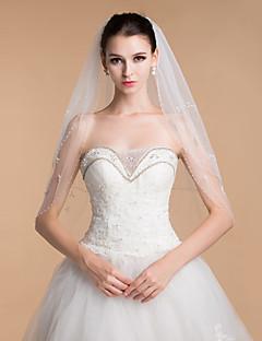"""הינומות חתונה שתי שכבות צעיפי קפלה קצה חרוזים 31.5 אינץ' (80 ס""""מ) טול לבן / שנהב"""