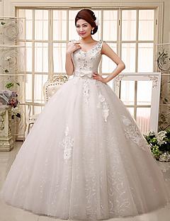 Vestido de Noiva Baile Em V Comprido Renda