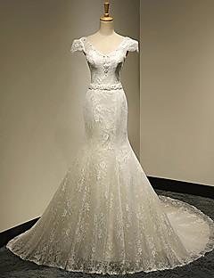 웨딩 드레스 - 화이트&샴페인(색상은 모니터에 따라 다를 수 있음) 트럼펫/멀메이드 성당 트레인 V 넥