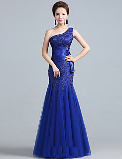 Formal Evening Dress - Ruby / Royal Blue Plus Sizes Fit & Flare One Shoulder Floor-length Lace / Tulle