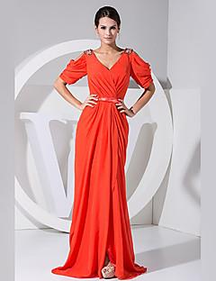 Formal Evening Dress - Blushing Pink A-line V-neck Floor-length Chiffon