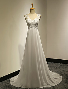 A-line Wedding Dress - Chic & Modern Vintage Inspired Sweep / Brush Train V-neck Chiffon Lace with Appliques Button