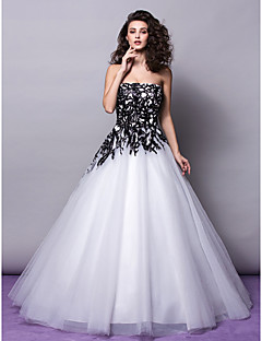 A-line/Princess Wedding Dress - Ivory Floor-length Strapless Tulle/Sequined