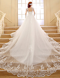Ball Gown Wedding Dress - White Chapel Train V-neck Lace / Tulle