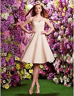 hjemkomst knælang blonder brudepige kjole - perle pink a-line / prinsesse spaghetti-stropper