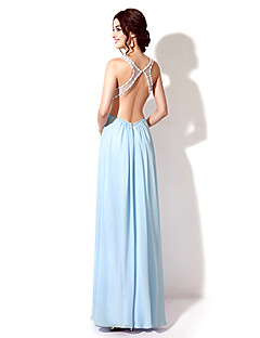 a-lineジュエルネックフロアレングスシフォンフォーマルイブニングドレス