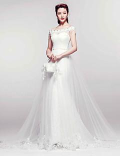 Hochzeitskleid - Weiß Spitze - Meerjungfrau-Linie - Hof-Schleier - Bateau - Ausschnitt