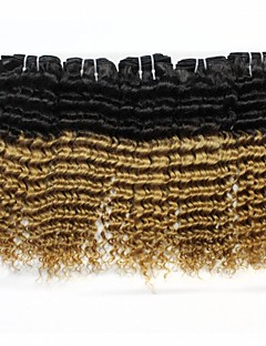 """4Pcs/Lot Top Quality Brazilian Curly Wave Human Hair Extension 1B/27 Ombre Weave 12""""-24"""""""