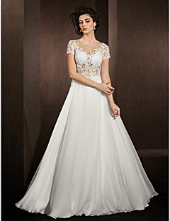 Lanting Bride® A-line Petite / Plus Sizes Wedding Dress See-Through Wedding Dresses Floor-length Jewel Lace / Satin Chiffon