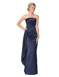 Dress Sheath / Column Strapless Floor-length Satin with Ruching