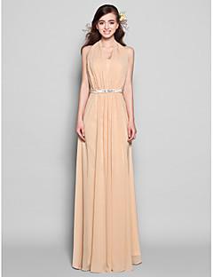 Lanting Bride® Floor-length Chiffon Bridesmaid Dress Sheath / Column Halter Plus Size / Petite withBow(s) / Crystal Detailing / Draping /