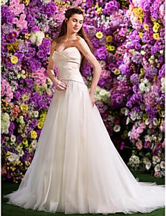Lan Ting ball kjole brudekjole - elfenben domstol tog kjæreste satin / tyll