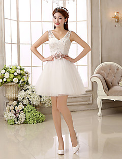 Short/Mini Bridesmaid Dress - Ivory A-line / Princess Strapless