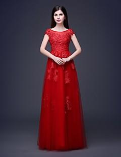 저녁 정장파티 드레스 A라인 바닥 길이 스쿱 레이스/명주그물