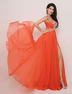 Fiesta formal Vestido - Naranja Corte A Hasta la Rodilla - Escote en V