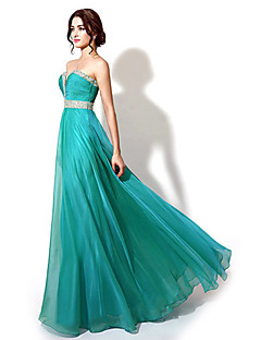 Formal Evening Dress - Dark Navy / Jade / Watermelon Plus Sizes / Petite A-line Sweetheart Floor-length Chiffon