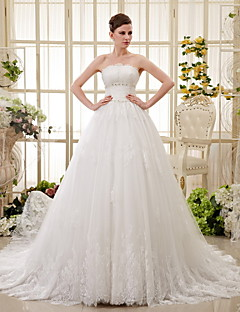 A-line Chapel Train Wedding Dress -Strapless Lace