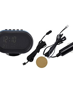 Black Multi-fonction Car Digital Clock with Thermometer and Automotive Voltmeter/Calendar/Alarms Clock(12-24V)